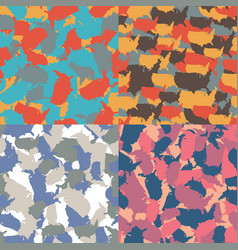 set of usa shape camo seamless pattern colorful vector image