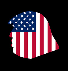Side view donald trump with an american flag vector