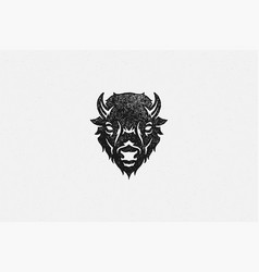 silhouette head wild buffalo or bison as vector image
