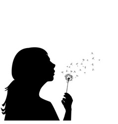 silhouette of a little girl blowing dandelion vector image