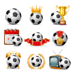 soccer ball icon set vector image