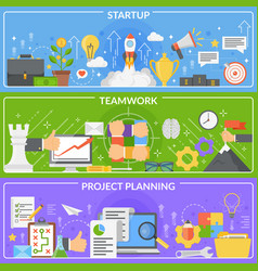 Startup development concept banners vector
