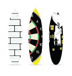 surfboard with various element on it set vector image