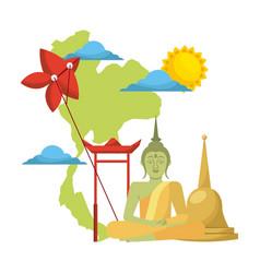 Thailand concept festival buddha map kite vector
