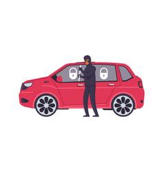 theft car cartoon robber breaks automobile door vector image
