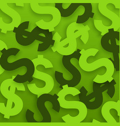 Usa currency symbols on green background vector