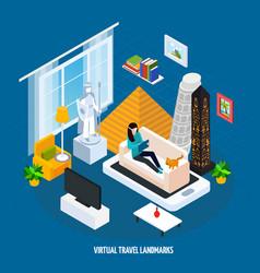 Virtual travel landmarks museum isometric concept vector