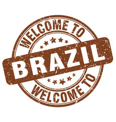 welcome to brazil brown round vintage stamp vector image vector image