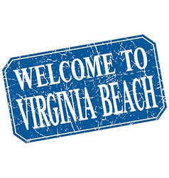 Welcome to Virginia Beach blue square grunge stamp vector