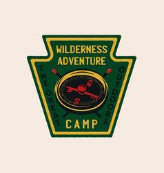 wilderness adventure logo design print camping vector image