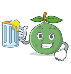 With juice guava mascot cartoon style vector