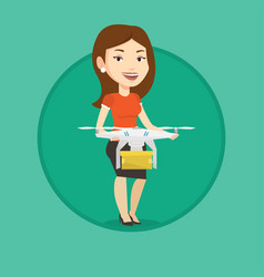 Woman controlling delivery drone with post package vector