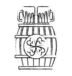 wooden barrel with two beer and clover vector image