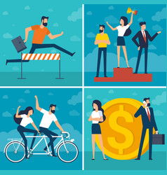 young man and woman doing business vector image