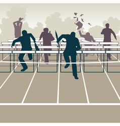 Businessmen hurdles vector image