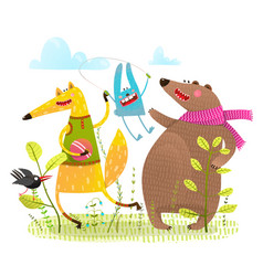 fox bear rabbit crow playing on the playground vector image