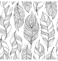 Pattern with abstract feathers vector