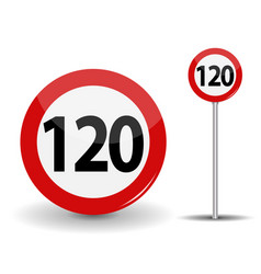 Round red road sign speed limit 120 kilometers per vector