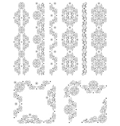 Set of borders with floral elements vector image vector image