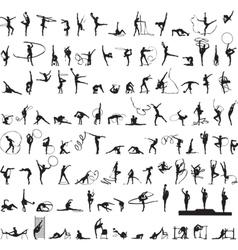 set of silhouettes Rhythmic Gymnastics vector image