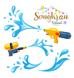 sign songkran festival and water collection vector image vector image