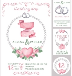 Watercolor wedding invitation setPink roses vector image vector image