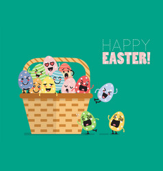 wicker basket with easter eggs vector image