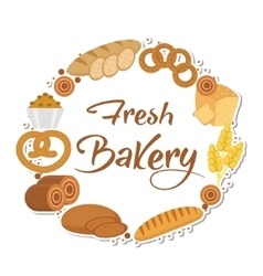 Bakery products frame flat style Set of vector image vector image