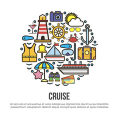 Circle with nautical cruise elements set on white vector