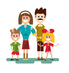 family cartoon flat design vector image vector image