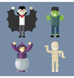 Halloween Characters Icons Set on Stylish vector image vector image