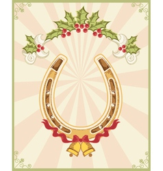 Horseshoe on christmas background with holly berry vector image
