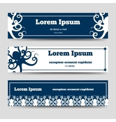 Ocean horizontal banners with octopus vector image