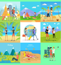set of people on vacation flat concepts vector image