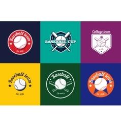 Set of vintage color baseball championship logos vector image