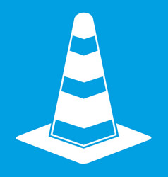 traffic cone icon white vector image vector image