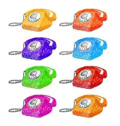 Vintage phones sketch set vector image vector image