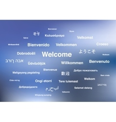 Welcome phrases in different languages of the vector image