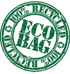 100 percent recycled eco bag stamp vector image