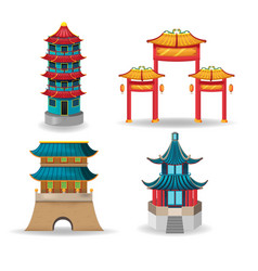 china temple collection design set vector image