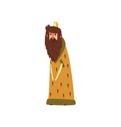 funny bearded king character in mantle cartoon vector image