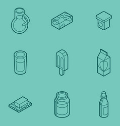 milk flat outline isometric icons vector image vector image