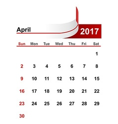 simple calendar 2017 year april month vector image vector image