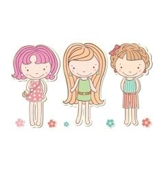 three girls little funny isolated cartoon vector image