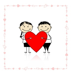 Valentine day Couple with big red heart for your vector image vector image