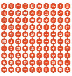 100 electrical engineering icons hexagon orange vector