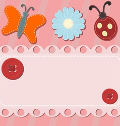 Abstract background with button and sewing vector image