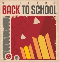 Back to school retro poster vector image vector image