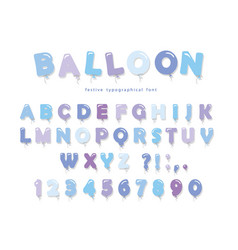 balloon blue font cute abc letters and numbers vector image