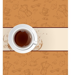 coffee background and cup vector image vector image